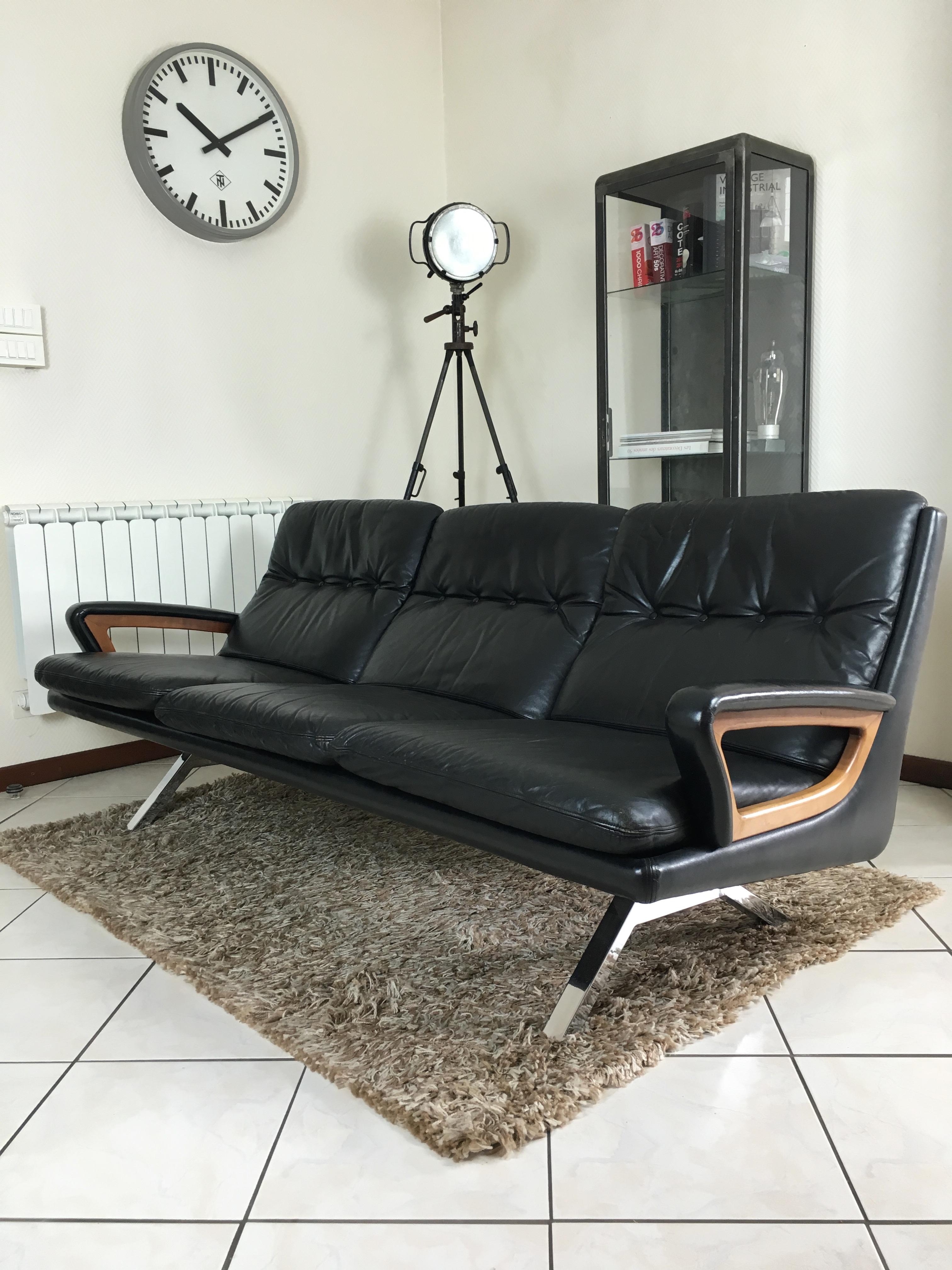 canap cuir 3 places de sede ann e 60 sofa leather de sede. Black Bedroom Furniture Sets. Home Design Ideas