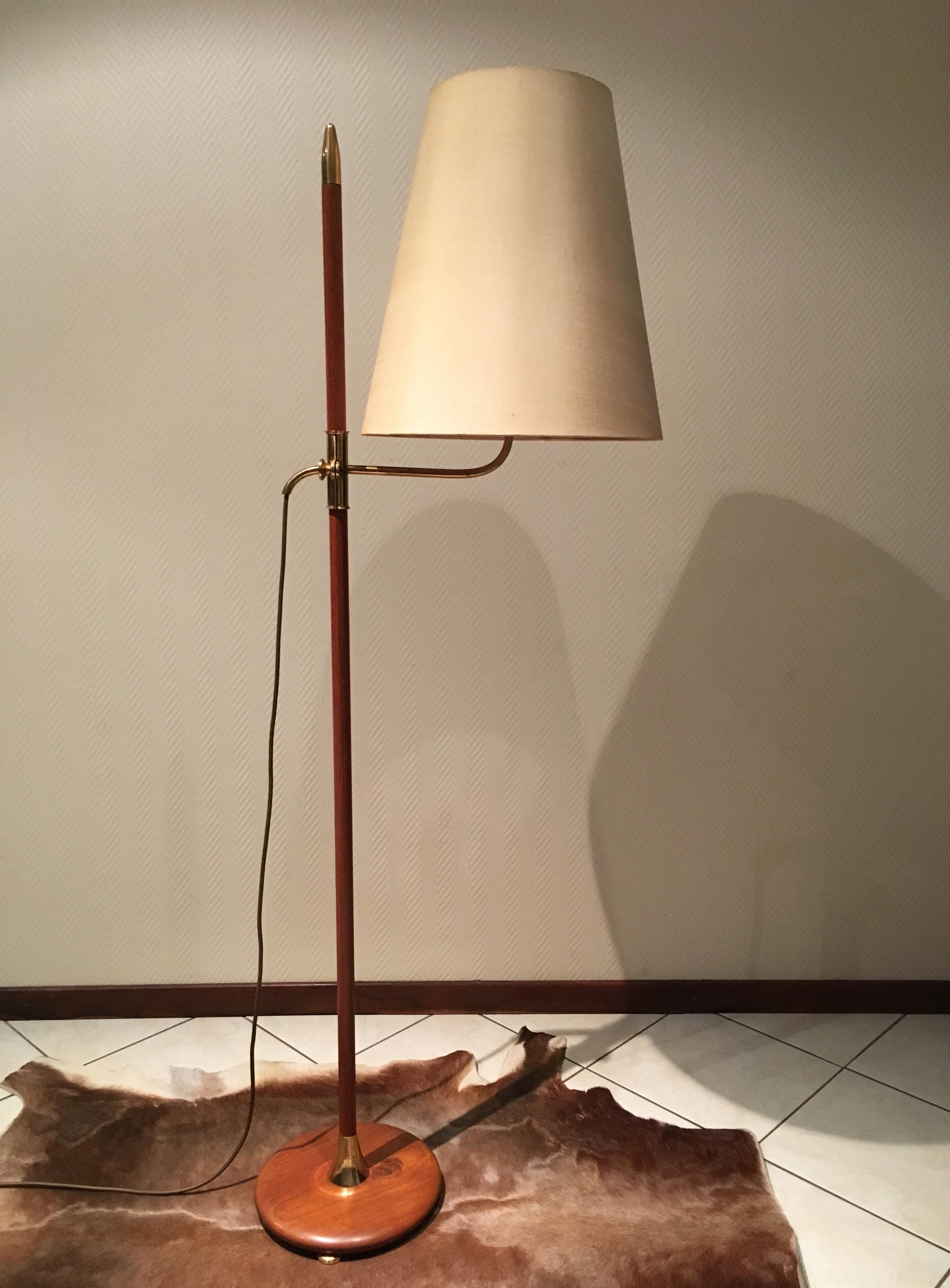 lampadaire scandinave ann e 70 floor lamp brass adjustable danish 70 s design. Black Bedroom Furniture Sets. Home Design Ideas