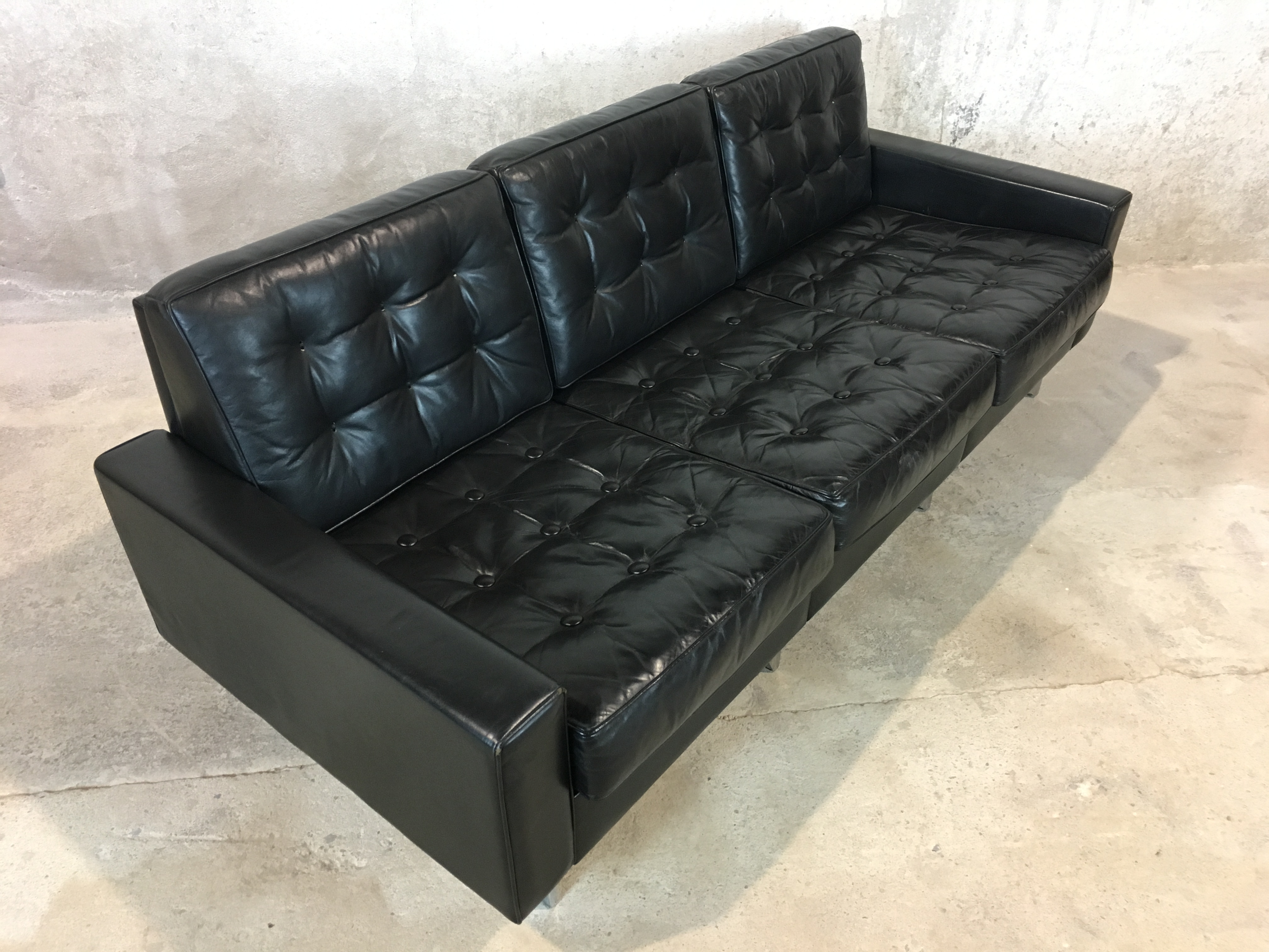 canap cuir ann e 70 de sede ds 3a sofa leather black 1970. Black Bedroom Furniture Sets. Home Design Ideas
