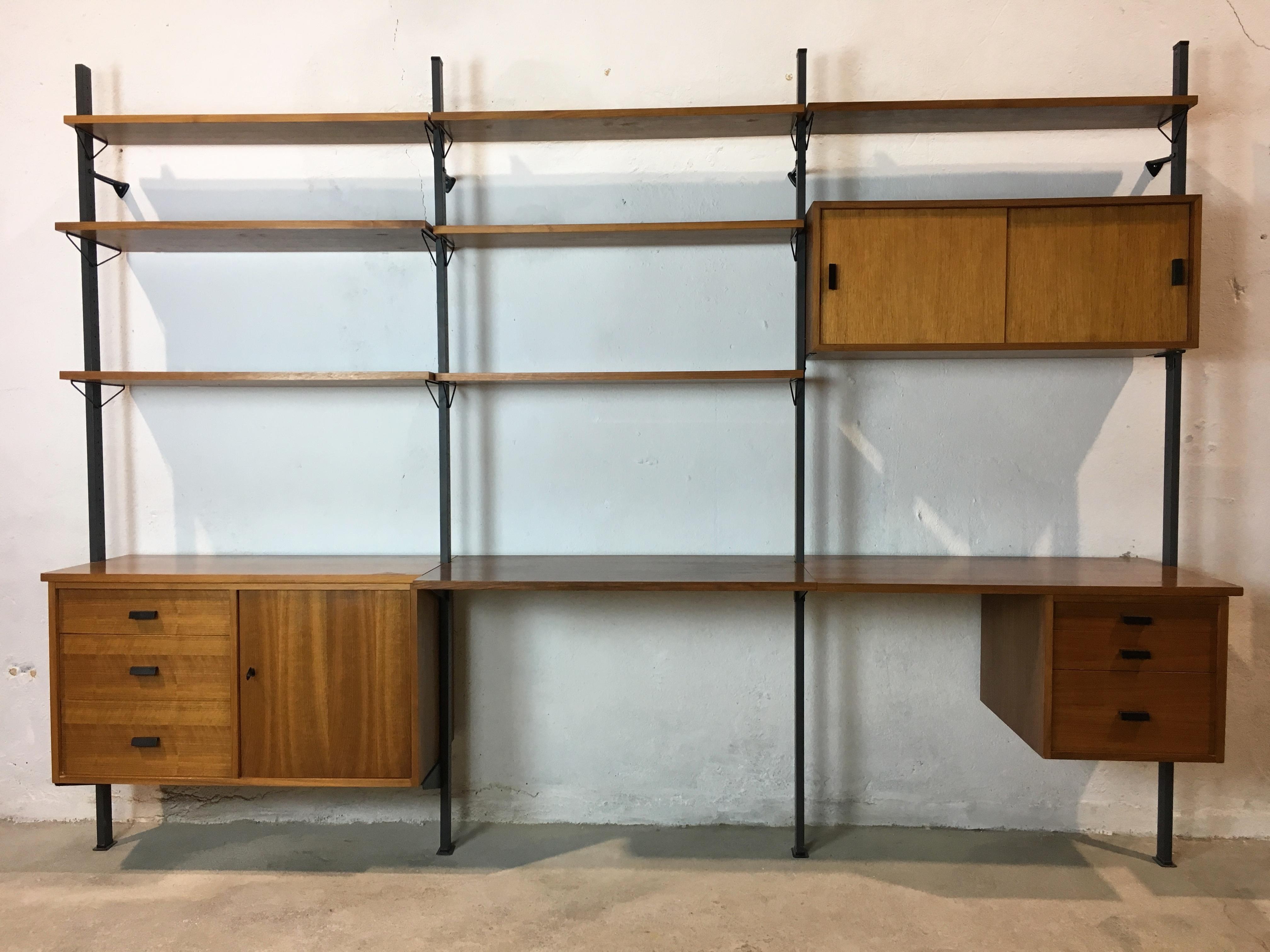 etagère bibliothèque scandinave année 60 shelf system pira système